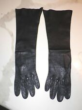 WOMAN'S VTG BLACK LEATHER GLOVES SZ APPROX 6