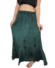 Women Ladies Long Maxi Skirt Casual Embroidered Bohemian Elastic Waist 3 Pc