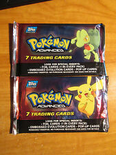 2x SEALED Pokemon TOPPS ADVANCED Booster Card Pack From Box Pikachu Treecko Art
