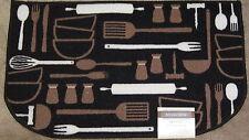 Cutlery Chef Black White Brown Fork Knife Spoon Kitchen Mat Slice Rug 16 x 24