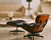 Plywood Lounge Chair and Ottoman ROSEWood 100% Genuine Top Grain Italian Leather