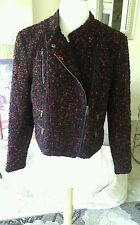 Banana Republic NWT black and red wool boucle moto jacket with zippers size 10P