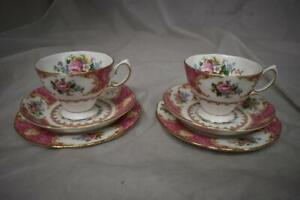Royal Albert Lady Carlyle Bone China 2x Trio Sets (Cups, Saucers, Plates) LOT A