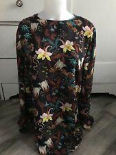 H&M Floral Black Sheer Blouse Long Womens Top Size 12 US 42 EUR