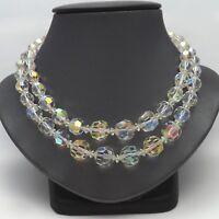 Retro Deco Austrian Aurora Borealis Crystal Double Strand Faceted Bead Necklace