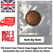 100x Small Clear Plastic Bag Grip Self Seal Resealable Lock NEW BAG 40mm by 40mm