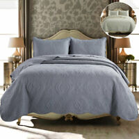 Modern 3 Piece Embroidered Quilted Bedspread Bed Throw Reversible Bedding Set