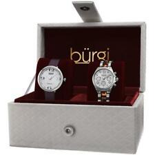 Burgi BUR134SS GMT Day Date Diamond Dial Strap Bracelet Womens Watch Set