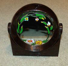 Vtg Round/Swivel Vanity/Makeup Mirror Music Box-Brown/Floral-Light Up My Life