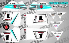 suzuki lt50 quad graphics stickers decals name & number mx laminate vinyl white