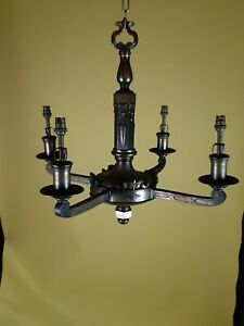 4 Branch Antique Brass Chandelier. 1 Of A Matching Pair Which Is Also Available.