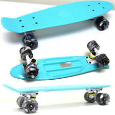 "CELESTIAL TEAL / WHITE TRUCK / SWIRL GRAY WHEELS - 22"" Penny Style Skateboard"