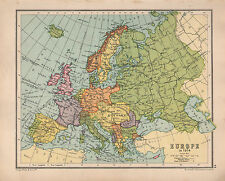 1934 MAP ~ EUROPE ~ BRITISH ISLES SPAIN FRANCE DENMARK ~ SHIPPING ROUTES RAILWAY