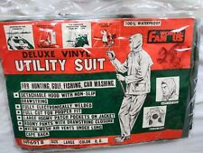 Vintage Mens World Famous Deluxe Vinyl Utility Suit Dark Olive Size Large NEW