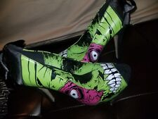 ED HARDY black SKULL PUMPS US: 9 sailor open box halloween goth rockabilly