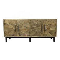 "71"" L Sunshine Sideboard Hand Crafted Recycled & New Woods Rustic 4 Door"
