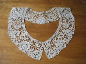 Antique Collar dainty  Schiffli lace large beige color versatile design beauty