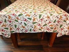 "Christmas, festive,Santa, snowman, Candy canes, Xmas trees table cloth 57"" x 57"""
