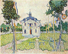 Beautiful art Oil painting Vincent Van Gogh - Auvers Town Hall on July canvas