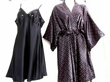 PINK HEARTS~BLACK SATIN BABYDOLL NIGHTGOWN & ROBE - VALENTINES