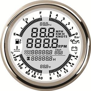 12V White AND Silver Bezel 6 in 1 Multi-functional Gauge Meter GPS Speedometer