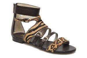 Michael Kors Women's Sandal Gladiator Leopard Brown Flat WINSTON Animal Sz 5 NIB
