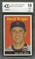 2007 topps heritage #92a DAVID WRIGHT new york mets BGS BCCG 10