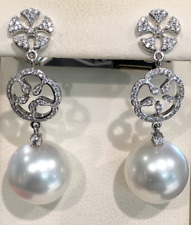 South Sea Cultured Pearl and Diamond Earrings in 18k White Gold