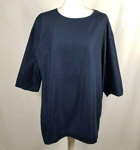 COS Womens Tunic Top M Dark Blue Lightweight Denim 3/4 Sleeve 100% Cotton Smart