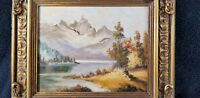 Mountain Lake Scene Oil Painting on Board Framed Signed LR Period Frame