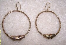 GENUINE ALEX AND ANI HAREM  BEAD TEXTURED RUSSIAN GOLD TONE HOOPS  EARRINGS NEW
