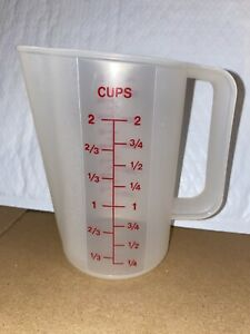 Vintage Tupperware 2 Cup 16 Oz Measuring Pitcher Cup Red Lettering #1669 NEW