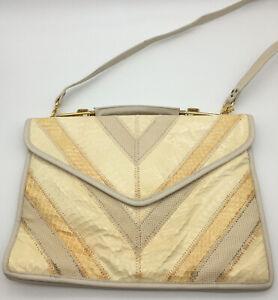 Bags By Varon Snake Skin Purse Shoulder Bag Cream Removable Strap Vintage.