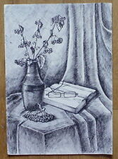 UKRAINE PAINTING PICTURE STILL LIFE INDIA INK PLANTS VASE TABLE GLASSES BOOK ART