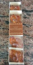 "Williams-Sonoma Thanksgiving Fall Acorn Taper Holders 10"" candles Orange New Box"