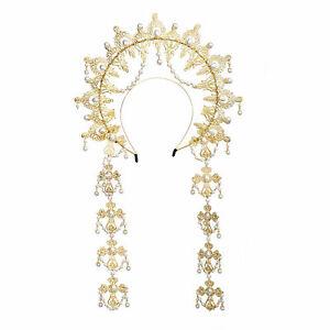 WomenSun Beads Tassels Hair Band  Halo Crown Virgin Mary Headpiece Headpiece