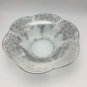 """Silver Overlay Glass Centerpiece Bowl Grape Motif 12"""" Footed Scalloped 3.25"""" Tal"""