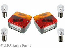 Pair Of Trailer Caravan Rear Square 4 Function Tail Brake Stop Indicator Lights