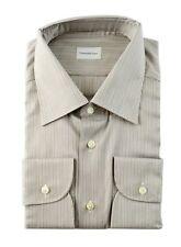 Men's ERMENEGILDO ZEGNA Brown Striped Cotton Dress Shirt 17 43 XL NWT $355!