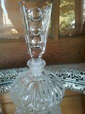 Vintage Cut Crystal Carved Perfume Bottle Glass Art Clear Bottle Gift Refillable