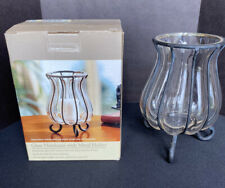 Handmade Glass Hurricane with Rustic Metal Holder for Votive Candle or Tea Light