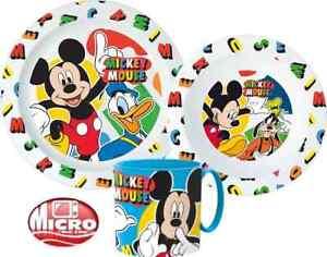 Mickey Mouse Boys Girls Kids 3 Piece Plate Bowl Cup Set Dinner Breakfast Set