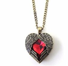 """RED CRYSTAL HEART in ANGEL WINGS 1-1/4"""" Pendant Necklace with 27"""" Chain"""
