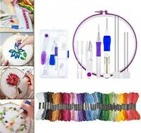 DIY Embroidery Pen Knitting Sewing Tool Kit Punch Needle + 50 Colors Threads Set