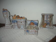 Set 4 Art Pottery Doll House Miniatures w Cats Bed Bureau Clock Bedroom Window