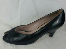 VAN ELI Black Leather Peep Toe Pump Heels Dress Shoes Womens 6.5 M Italy Career