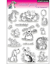 Penny Black Clear Stamps - Critter Party - Dogs, Cats, Mice, Hedgehogs, Birthday