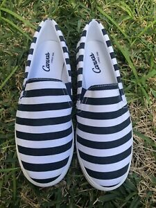 NEW CANVAS BY LANDS END Slip On Sneakers Navy Stripes Shoes US6.5 Med UK4EU 37