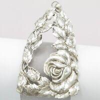"Vintage 1930s Art Deco Sterling Silver Repousse Rose Flower LARGE 2.5"" Pendant"