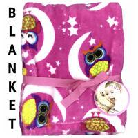 New Baby Toddler Kids Blanket Plush Fleece Owl Animal Print Moon Star Pink 30x40